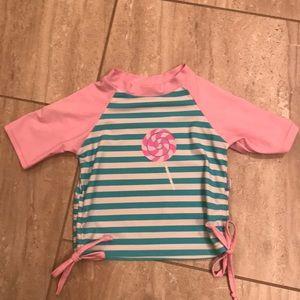 Pink, aqua and white infant rash guard